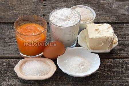 Для приготовления хрустящих тыквенных вафель нам понадобится тыквенное пюре, мука, сахар обычный и ванильный, сливочное масло, яйца, разрыхлитель.