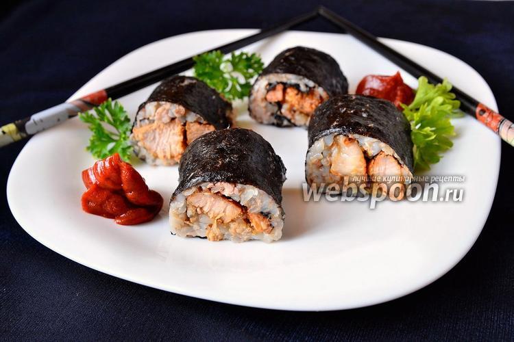 Фото Роллы с гречкой и свиным мясом