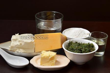 Для приготовления кутабов с сыром нам понадобится Фетакса, твёрдый сыр, вода, мука, подсолнечное масло, сливочное масло, соль, укроп (по желанию).