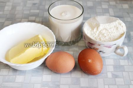 Для выпечки блинчиков нужно взять топленое молоко, муку, яйца, масло, кипяток, разрыхлитель, соль.