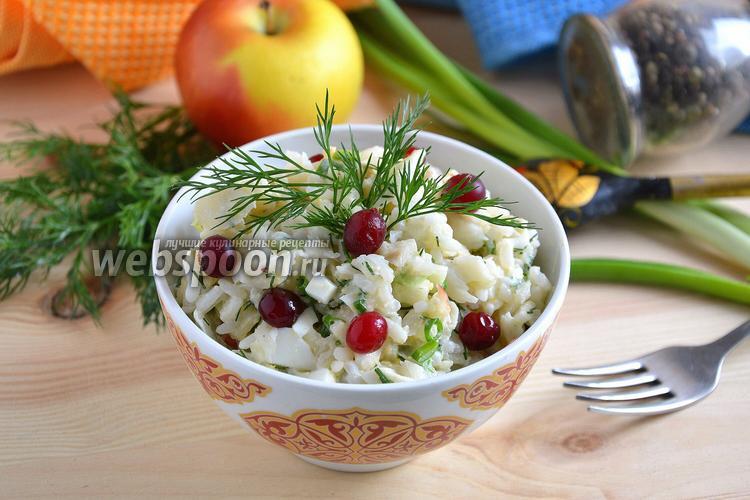 Фото Салат с треской, рисом и зелёным луком