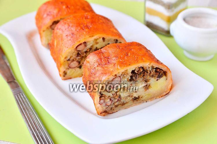 Рецепт Рулет с печёнкой, фасолью и картофелем