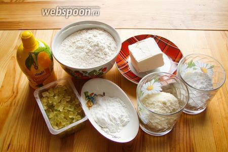 Для приготовления печенья нам понадобится: мука пшеничная, мука миндальная, крахмал, соль, сахарная пудра, цукаты, маргарин, лимонный сок.