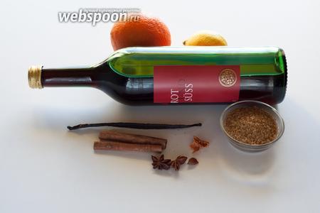 Идеальное вино для глинтвейна - это очень сладкие сорта, которые почти не нуждаются в дополнительном подслащении. Цедра может быть использована как свежая, так и сушеная - или вообще куски цитрусовых, кто как любит. Комплект приправ у меня чуток необычный: кроме стандартных корицы и аниса я использую стручок ванили (с выковырянными семечками) и мускатный цвет. Мускатный цвет обладает более нежным ароматом, чем мускат, который для меня резковат. Какой сахар (или мёд) пойдёт в дело - не принципиально, это - по вкусу.