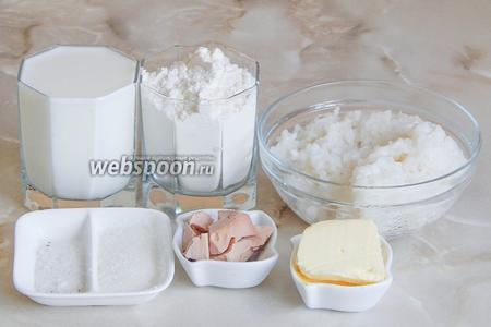Для приготовления этого вкусного домашнего хлебушка нам понадобятся пшеничная мука, отварной рис или рисовая каша - 240 грамм, тёплое молоко, соль, сахар и дрожжи.