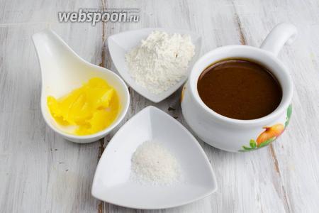 Чтобы приготовить соус, нужно взять мясной бульон, бульон луковый (шаг №18), топлёное масло, муку, соль, перец молотый.