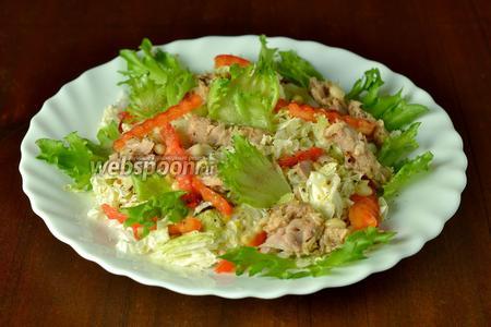 При подаче порции украшаем зелёным салатом (хрустящий фриллис очень подходит для этих целей) или любой зеленью, например, петрушкой, укропом, зелёным луком.