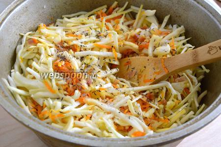 Нашинкуйте капусту, добавьте к поджарке. Посолите, поперчите, добавьте тмин и фенхель. Тушите до готовности на среднем огне. Время приготовления составляет 15-35 минут в зависимости от сорта капусты.