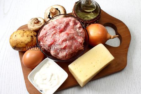 Для приготовления нам понадобятся следующие ингредиенты: фарш свиной, шампиньоны, картофель, сыр твёрдый, соль, специи, лук репчатый, сметана, майонез, яйцо куриное, чеснок и молоко.