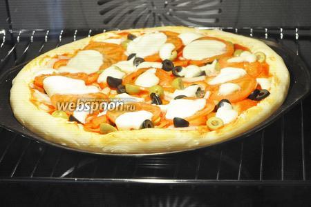 Поместить пиццу в духовку и 15 минут не включать нагрев, а дать подняться тесту. Тесто подходит от тепла лампочки. Затем включить духовку на 180°С на 15-20 минут.