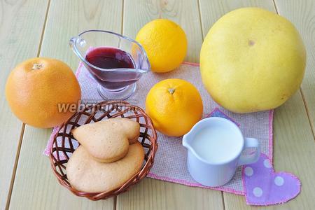 Для приготовления десерта приготовим фрукты, сливки растительные, пряники или печенье, сироп.