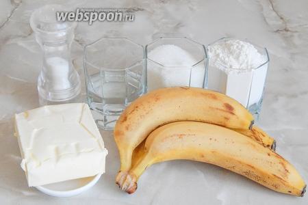 Продукты для приготовления бананового тарта подготовим такие продукты, как: пшеничная мука, сливочное масло, сахар, ледяная вода и бананы (3 средних или 2 крупных).