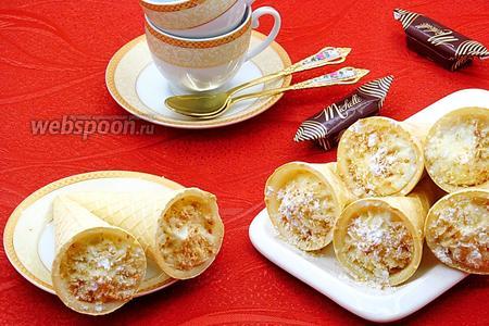 Пирожные «Вафельные трубочки с кремом»