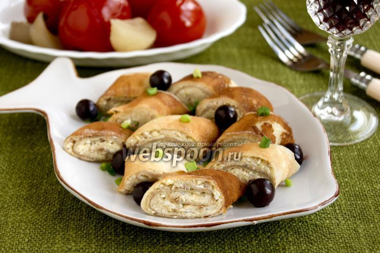 Рецепт Блинчатые рулеты с селёдочным маслом