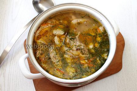 В конце приготовления добавить лавровый лист и мелко порезанный укроп. Наш гречневый суп с клёцками готов. Приятного аппетита!