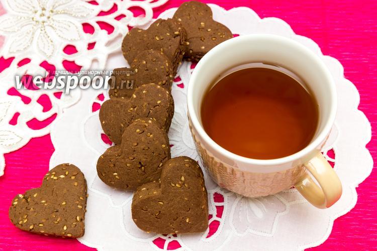 Фото Шоколадное печенье с кунжутом