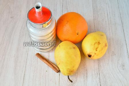 Для приготовления живого варенья вам понадобится кориандр, апельсин, груша и сахар.