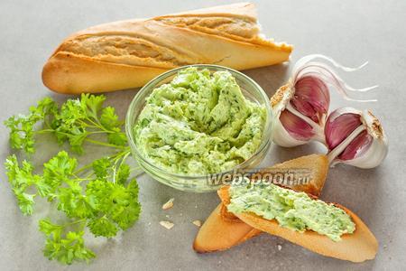 Зелёное масло с чесноком и плавленным сыром