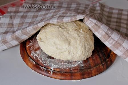 Получается эластичное мягкое тесто. Тесто накроем чистой салфеткой и отложим пока займёмся начинкой (примерно минут 15).