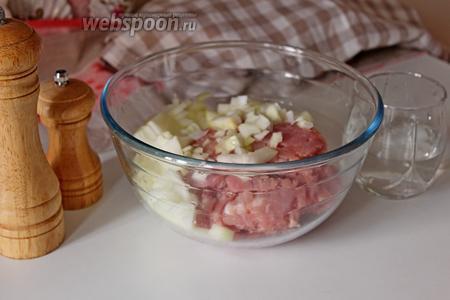 В миску с фаршем добавить лук, соль, перец и воду.