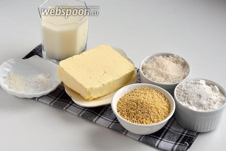 Для работы нам понадобится пшено, молоко, сливочное масло, мука, соль, сахар.