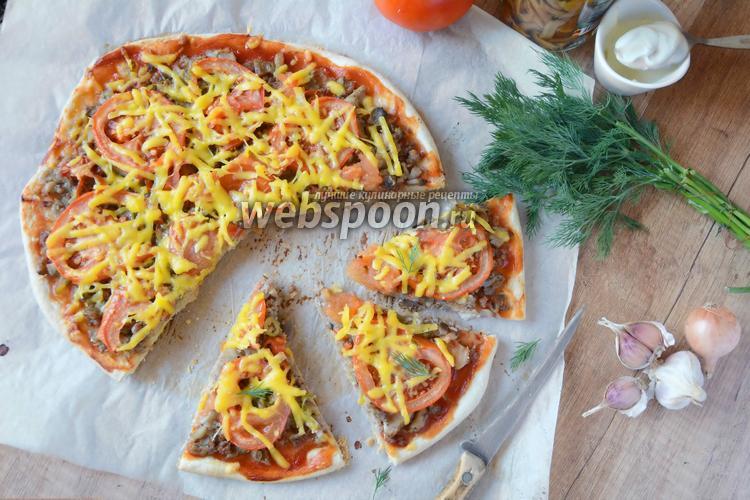 Рецепт Острая пицца с говяжьим фаршем и грибами
