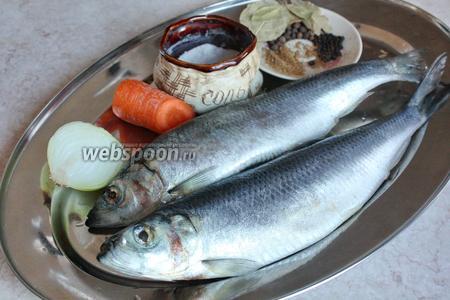Чтобы засолить сельдь, я взяла 2 мороженных рыбины, крупную соль, перец чёрный и душистый, приправу, которую используют для корейской морковки, лук и морковь.