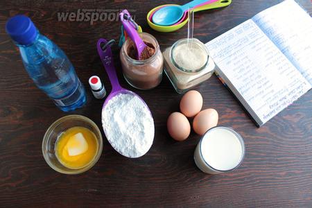 Нам надо мука, какао, яйца, желток, масло (растопленное), сахар, соль, молоко, вода, краситель красный (у меня гелевый).