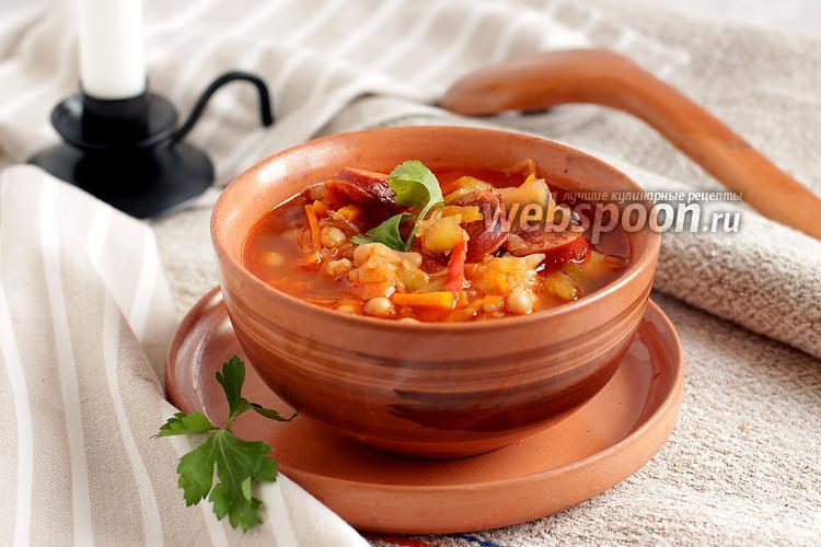 Рецепт Фасолевый суп с кислой капустой и колбасками