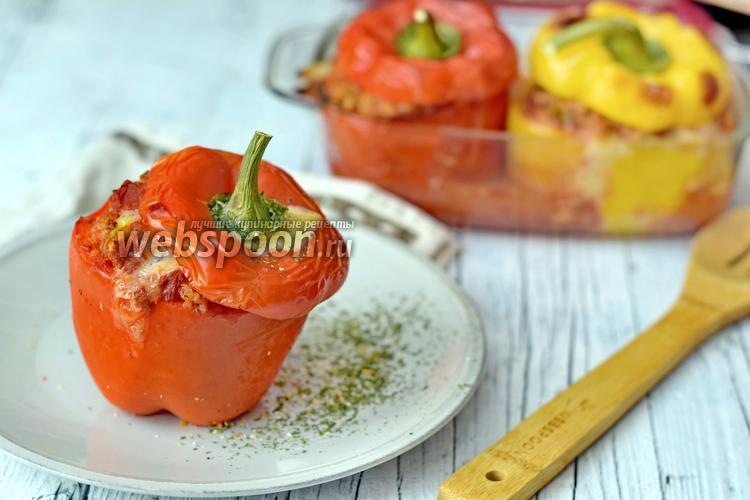 Рецепт Перец фаршированный бараниной и кускусом с сыром