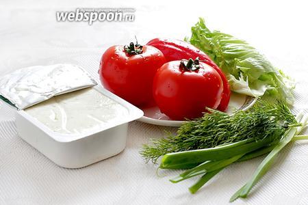 Для приготовления закуски возьмём творожный сыр или крем-сыр, любую зелень и зелёный лук, зубчик чеснока, помидоры, сладкий перец, свежий салат.