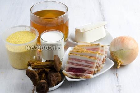 Для приготовления баноша в мультиварке нужно взять грибной бульон, сливки, кукурузную крупу, соль, грибы, лук, брынзу, сало (подчерёвок), топлёное масло.