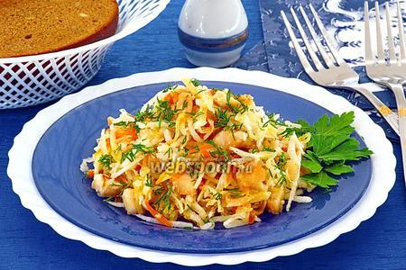 Салат из дайкона, курицы, овощей и сыра