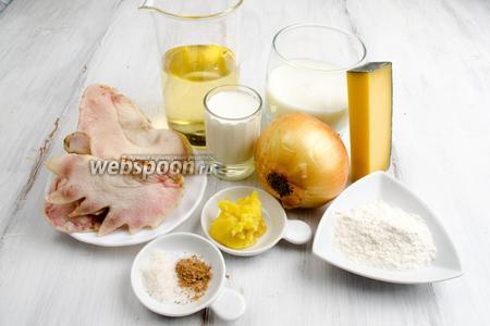 Чтобы приготовить закуску, нужно взять куриные гребешки, лук, белое вино, масло топлёное, соль, перец, мускатный орех, молоко, сливки, твёрдый сыр.
