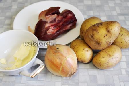 Для начинки взять говядину, картофель, лук, масло, соль и перец.