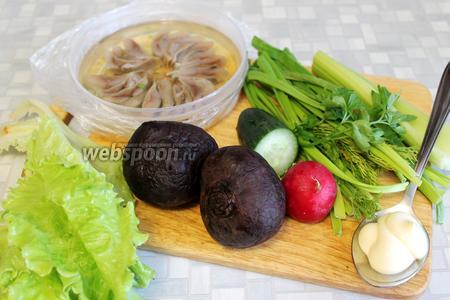 Для салата взять отварную свёклу, слабосоленую сельдь, огурец, редис, салат, сельдерей, зелень.
