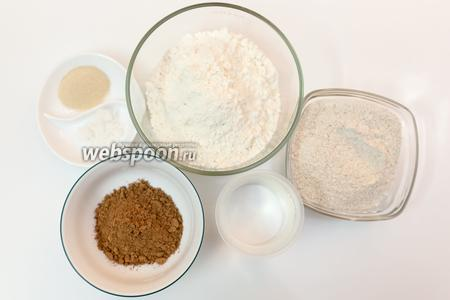 Для приготовления нам понадобится соль, мёд, мука ржаная, мука пшеничная, какао, дрожжи, вода, подсолнечное масло.