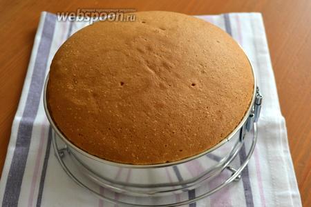 Готовый бисквит достать из духовки. Остудить в форме — бисквит не осядет и не уменьшится в диаметре!