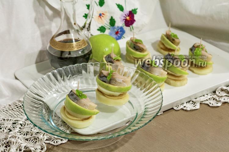 Рецепт Канапе с провесной скумбрией и яблоком