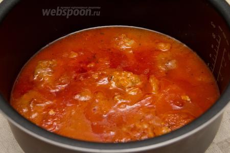 Наше блюдо «Тефтели с овощами в томатно-мандариновом соусе» готово. Можно подавать с любым гарниром. В моём случае на гарнир приготовлена паста. Приятного аппетита! В работе я использовала мультиварку Stadler form Chef One.