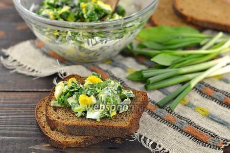 Зелёный салат из черемши, лука и петрушки