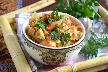 Фарфалле с креветками с томатно-ромовом соусе