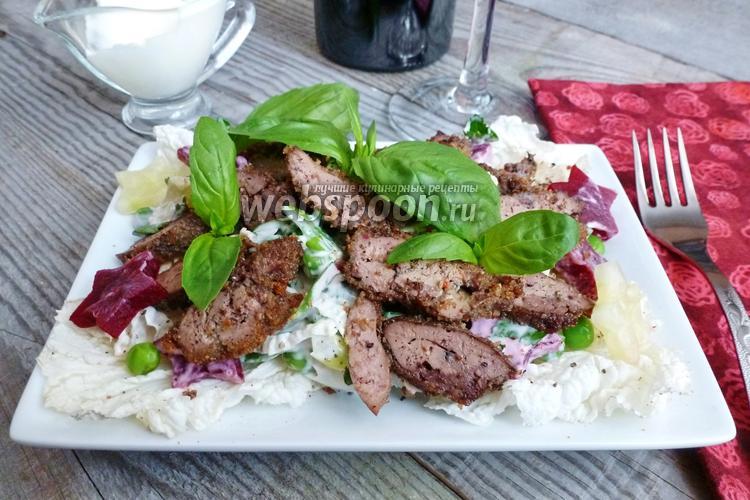 Рецепт Салат из куриной печени со свёклой и огурцом