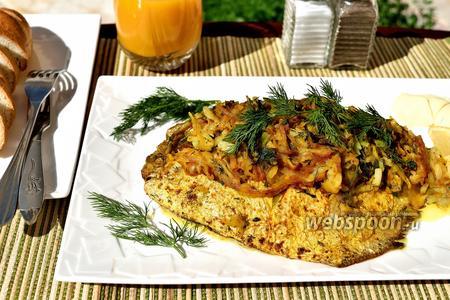 Жареный серебристый памп с луковой начинкой и картофелем