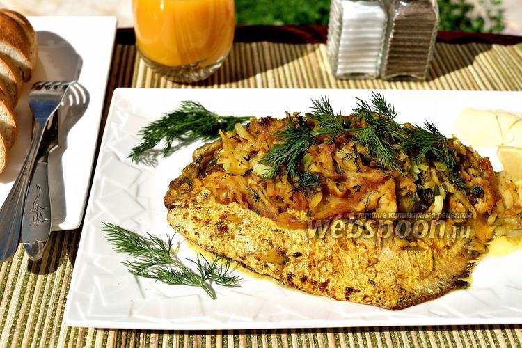 Рецепт Жареный серебристый памп с луковой начинкой и картофелем