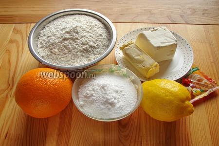 Для начала подготавливаем продукты: мука, маргарин, разрыхлитель, сахарная пудра, цедра.