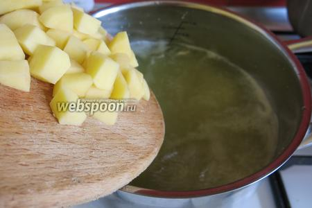 В кипящий бульон кладём картофель, кипятим.
