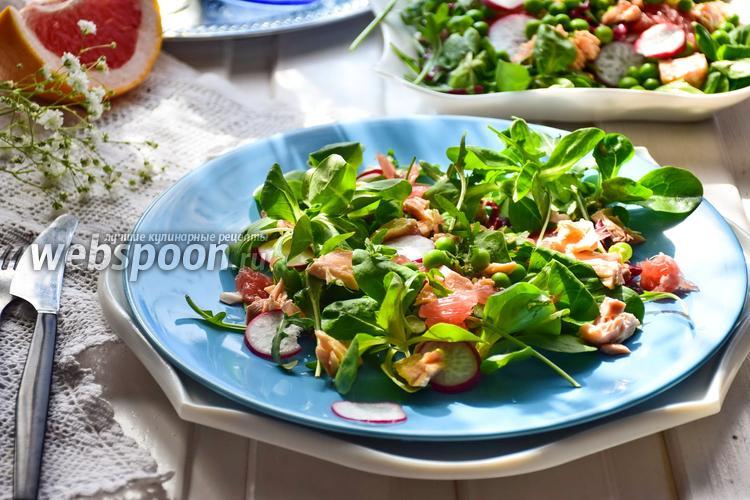 Фото Салат из красной рыбы и зелёного горошка