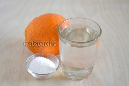Подготовьте необходимые ингредиенты : апельсин (1 крупный или 2 поменьше), свежий берёзовый сок и сахар.