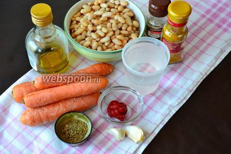 Ингредиенты для супа: морковь, консервированная белая фасоль, оливковое масло, чеснок, прованские травы, концентрированная томатная паста, соль, перец и вода.